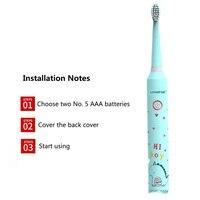 Crianças novas escova de dentes padrão dos desenhos animados crianças escova de dentes elétrica para 3 12 idades bateria sonic crianças escova de dentes com 2 escova 20|Escovas de dente elétricas| |  -