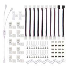 O jogo do conector da tira do diodo emissor de luz de 75 pces para 5050 10mm 4pin inclui 8 tipos de conectores em forma de l da tira do encaixe da tira do diodo emissor de luz