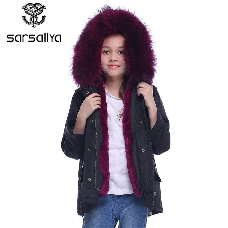 SARSALLYA real fur hooded jacket for girl jackets for girls girls winter coat children coats  parka boys windbreaker