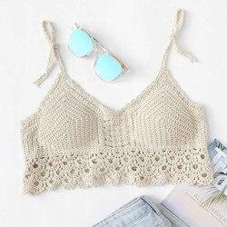 Mulheres de verão cores sólidas renda crochê, malha, acolchoado, crop top, boêmio sexy, costas nuas, bandage, praia cami tanque # p3