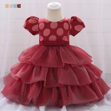 Girl Newborn Baby Big Polka Dot Short Sleeve Fluffy Princess Layered Dress Gown Girl Casual Dress split bell sleeve cut and sew polka dot dress