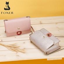 Женская сумка Кроссбоди FOXER, черная сумка мессенджер из коровьей кожи, с плечевым ремнем, 2019