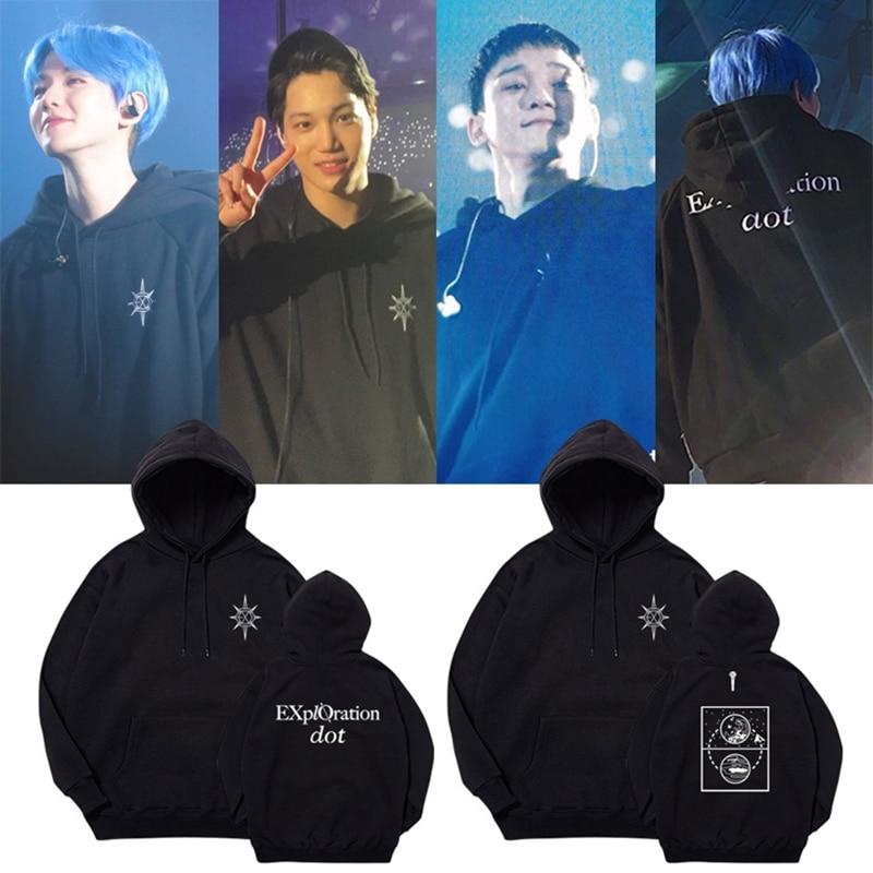 EXO Tour EXO PLANET #5 - EXplOration Live Album Print Pullover Hooded Unisex Sweatshirt Clothes Hoodies Sweatshirts