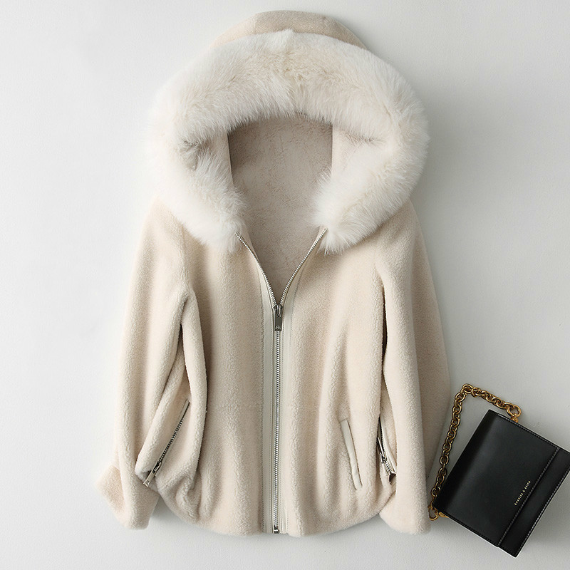 Real Fur Coat Korean Vintage Fox Fur Collar Wool Jacket Autumn Winter Coat Women Clothes 2020 Sheep Shearling Suede Lining T3520
