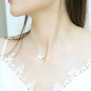 2020 Romantic 925 Sterling Silver MInimalist Butterfly Choker Pendant Necklace For Women Anniversary Party Fashion Jewelry NK015