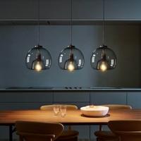 Nordic LED Anhänger Lampe E27 Schwarz Kronleuchter Für Wohnzimmer Esszimmer Küche Schlafzimmer Moderne Grau Glas Decke Hängen Licht