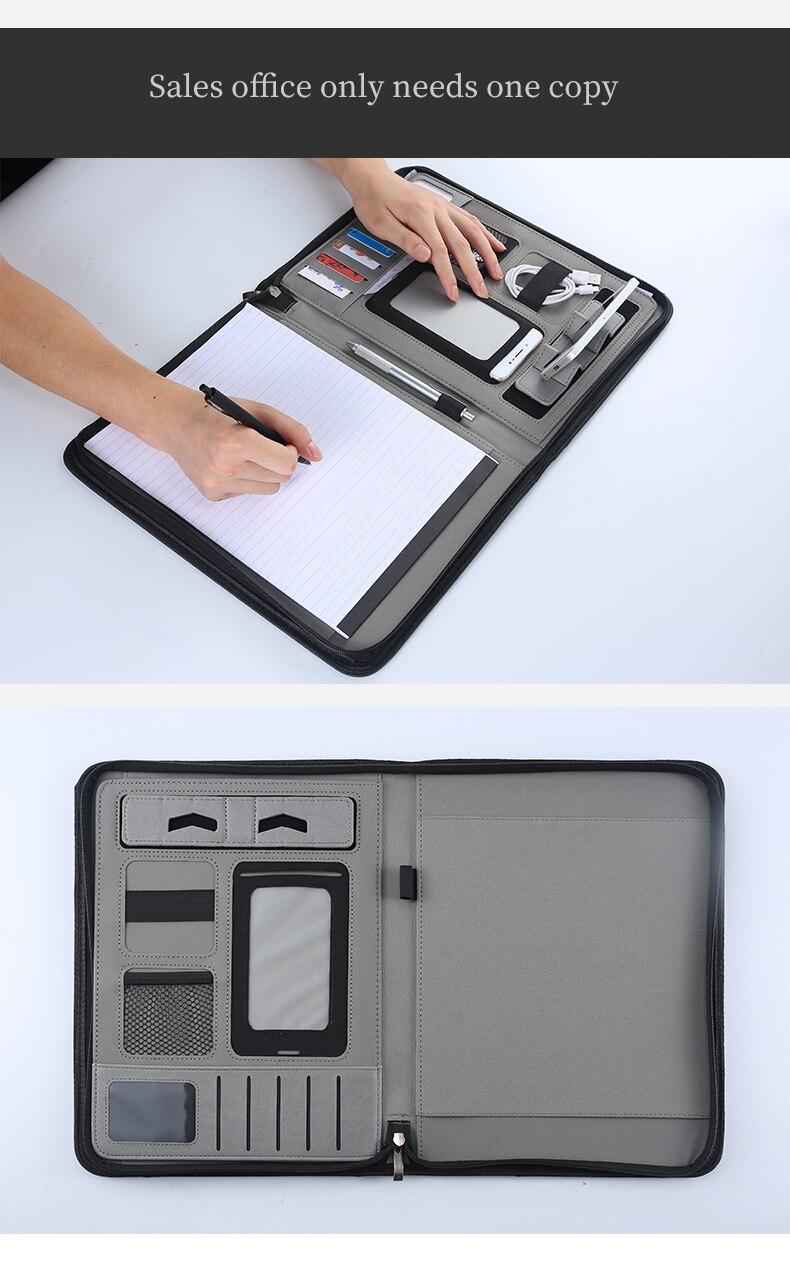 A4 Portable organisateur de voyage poches dossier dossier de conférence sac d'affaires Padfolio portefeuille gestionnaire avec support pour téléphone pour hommes - 3