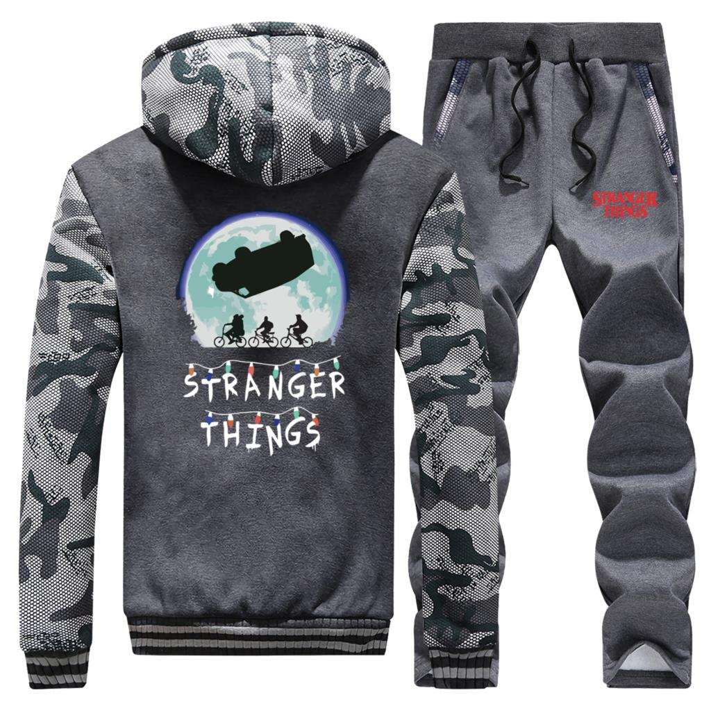 Winter Thick Male Clothes Suit Stranger Things Mens Brand Hoodie+Sweatpants New Style Streetwear Two Piece Set Men Coat Zip Warm
