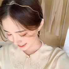 Moda feminina ouro onda de metal hairbands geomrico fina hairbands para festa de casamento
