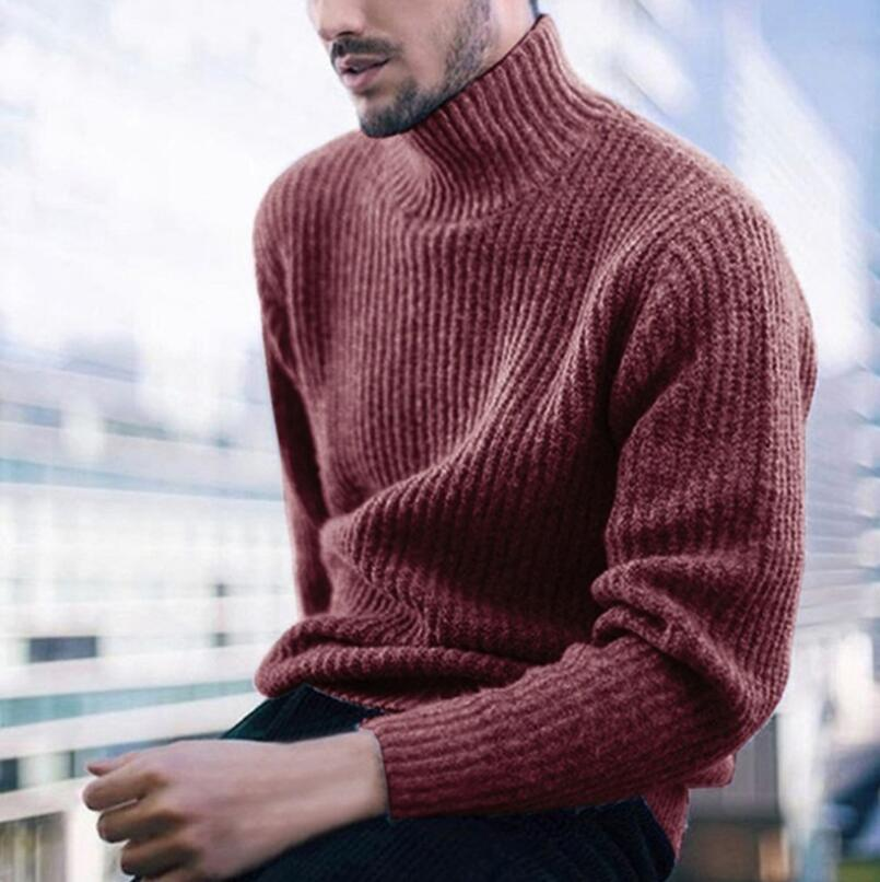 2019 Autumn And Winter Men's Casual Men's Shirt Pullover High Collar Long Sleeve Bulk Sweater