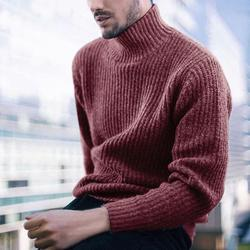 2019 Autumn and Winter Men's Casual Men's Shirt Pullover High Collar Long Sleeve Bulk Sweater
