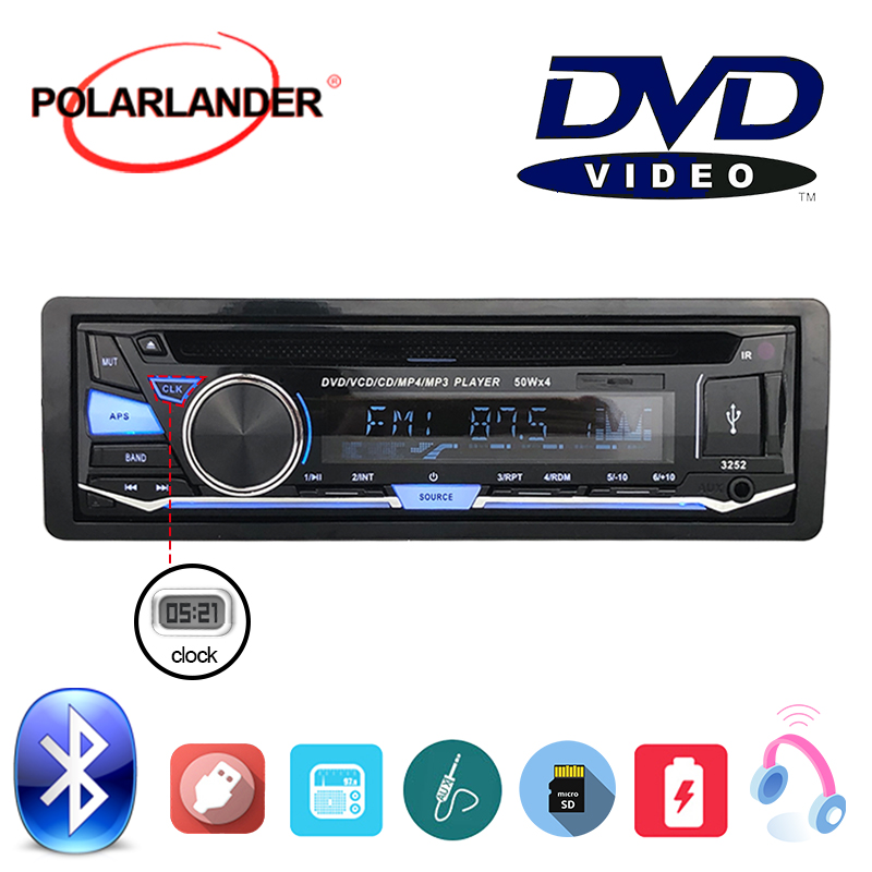 BT Bluetooth Car Radio Stereo 1 DIN Removable panel Audio Music CD DVD MP3 player FM AUX IN USB SD card With Remote Control in Car Radios from Automobiles Motorcycles