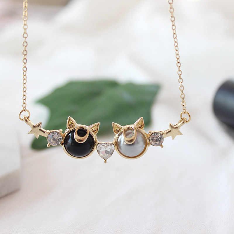 Новинка, мультяшный ключ, подвеска, ожерелье для женщин, милое, Сердце, цвет, кристалл, колье, ювелирное изделие, звезда, колье-чокер с Луной, цепочка, золото, для девушек, подарки