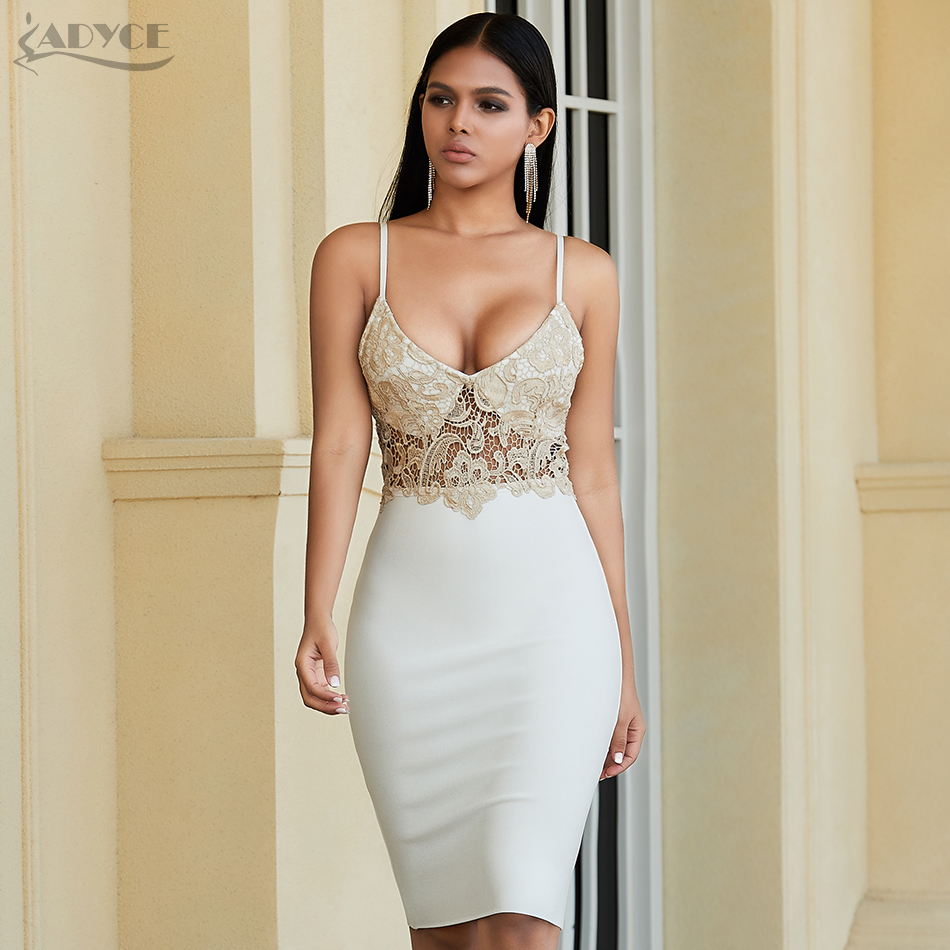 Adyce 2020 New Summer White Lace Bandage Dress Sexy Spaghetti Strap Sleeveless Bodycon Club Dress Celebrity Evening Party Dress