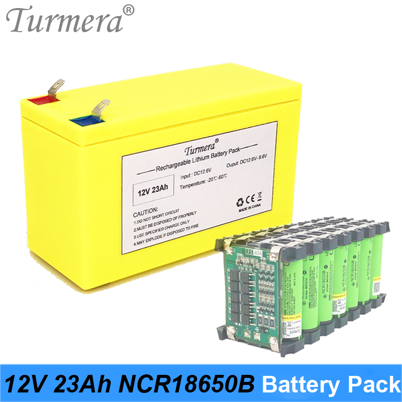 12V 23Ah Lithium Rechargeable Battery Pack Use NCR18650B 3400mAh cell for Uninterrupted Power Supply 10.8V 12.6V Turmera Battery