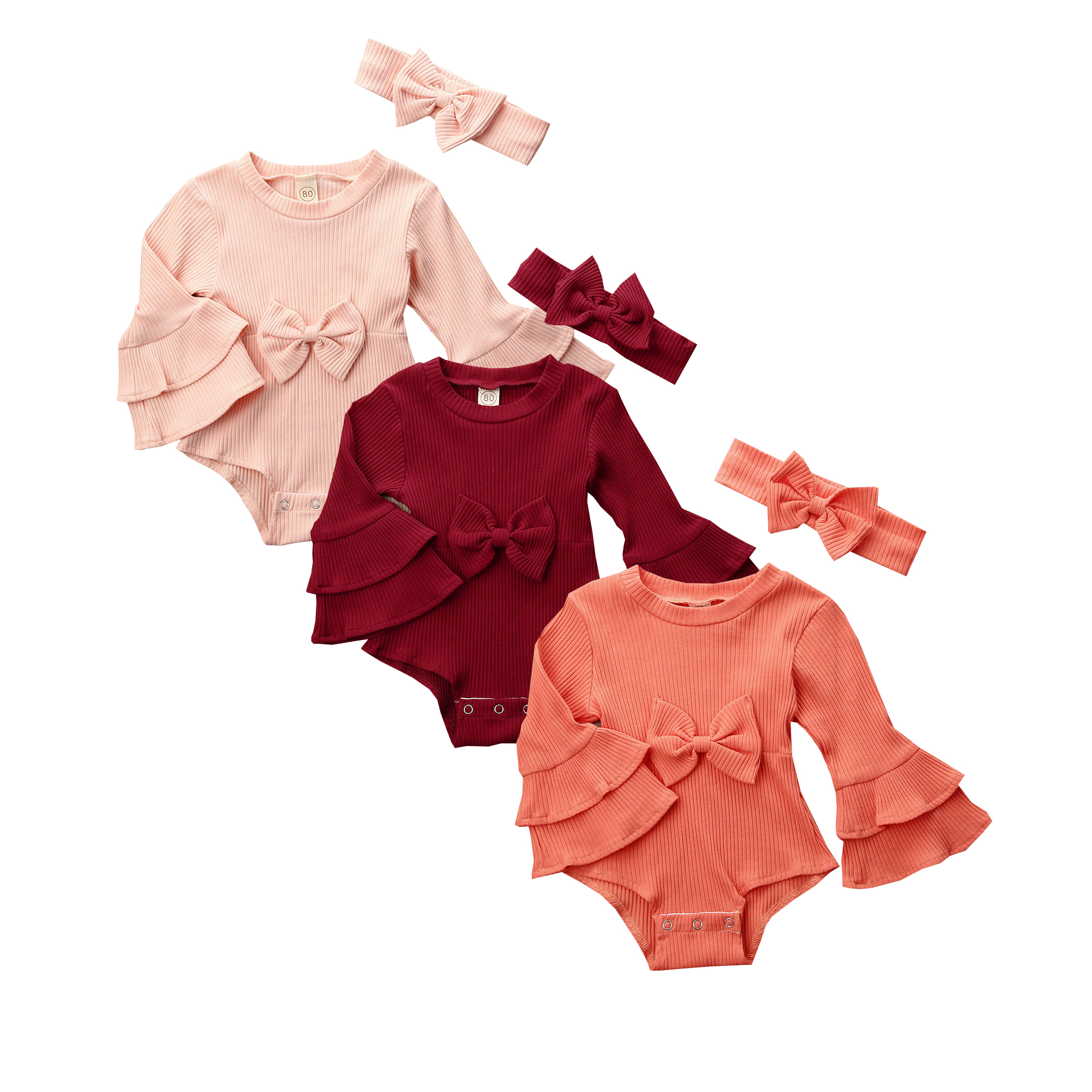 UK Newborn Baby Girl Long Sleeve Bodysuit Romper Jumpsuit Outfits Clothes 0-24M
