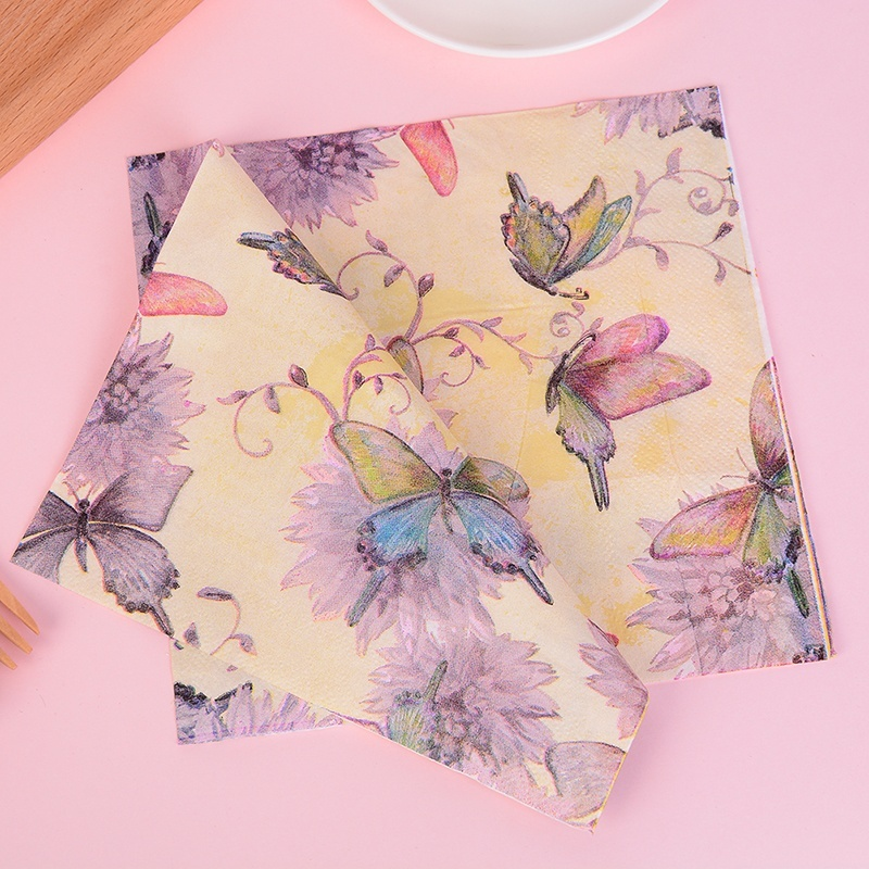 4 Lunch Paper Napkins  Decoupage Craft Vintage Party Napkin Spring Butterflies