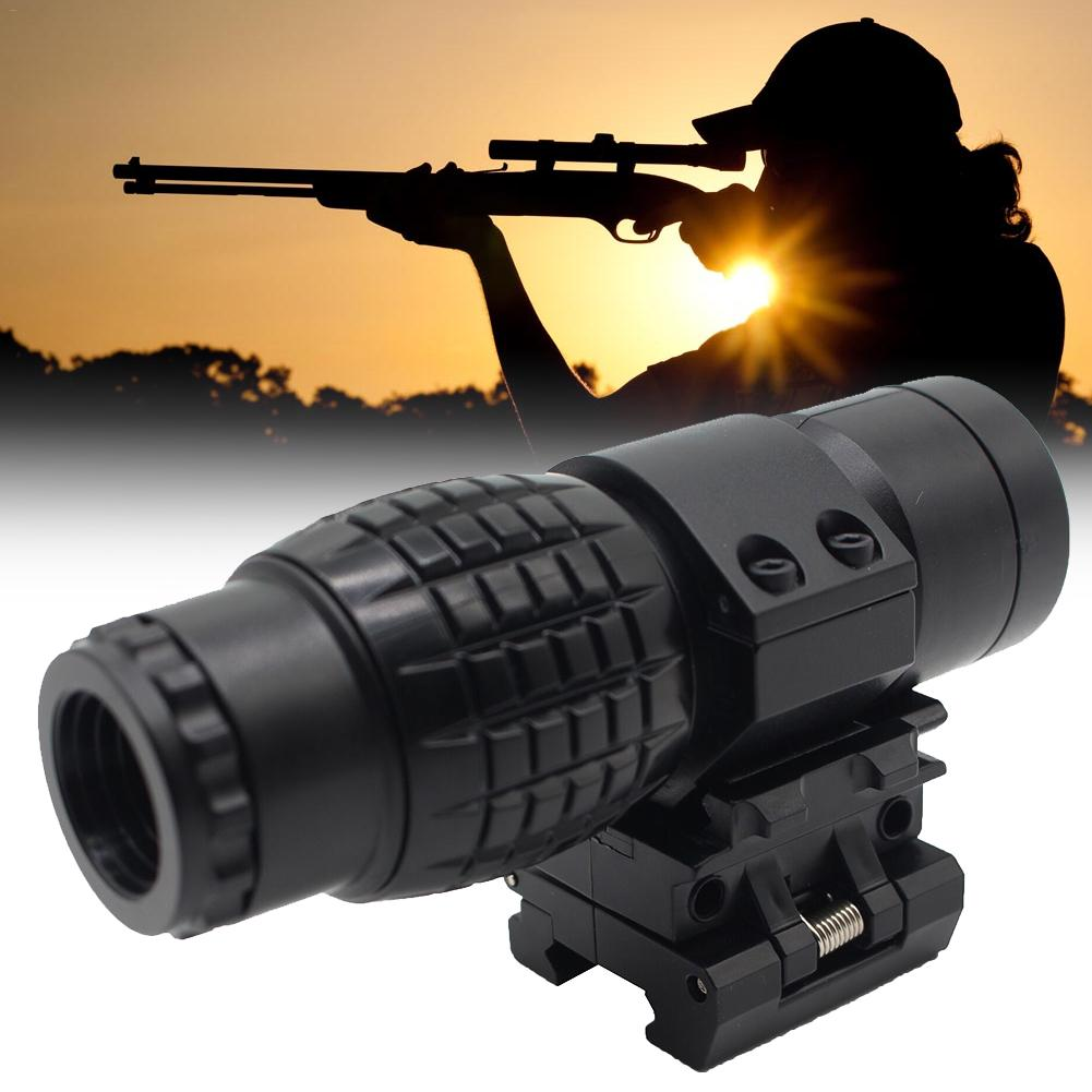 Sight 3X Magnifying Glass Scope Compact Hunting Riflescope Sights With Flip Up Cover Fit For 20mm Rifle Gun Rail Mount Accessory