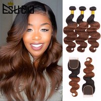 Body Wave Bundles With Closure Ombre Colored T1B 27/Red/33/Purple Bundles With Closure Mongolian 100% Remy Human Hair Extension