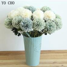 Yo cho longo flores artificiais dandelion de seda para casa decoração de mesa de casamento falso flores fundo branco arranjo decoração