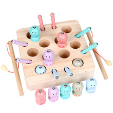 Montessori Baby Fishing Toy Wooden Digital Magnetic Fishing Toy Game To Catch Worm Educational Educational Toys Children's Gifts musical fishing rotating toy set fish game educational fishing toy child birthday gift baby educational toys