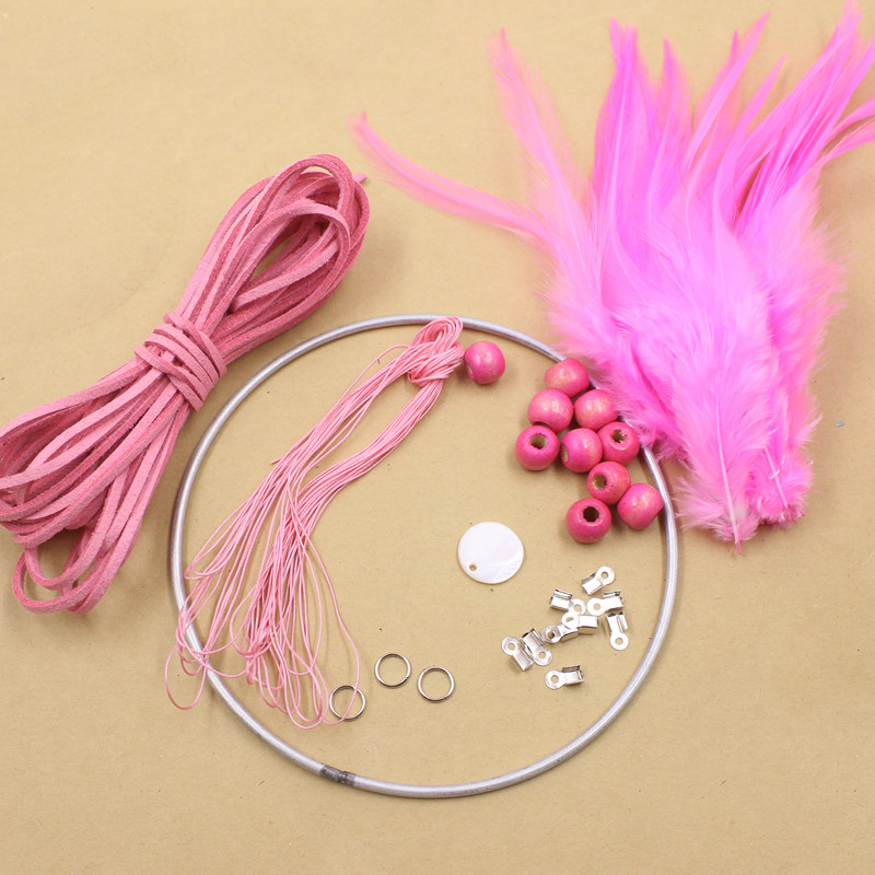 4Colors Fashion DIY Dream Catcher Kit Crochet Feather Hanging Decoration Wall Ornament Feather Crafts Dreamcatcher Accessories