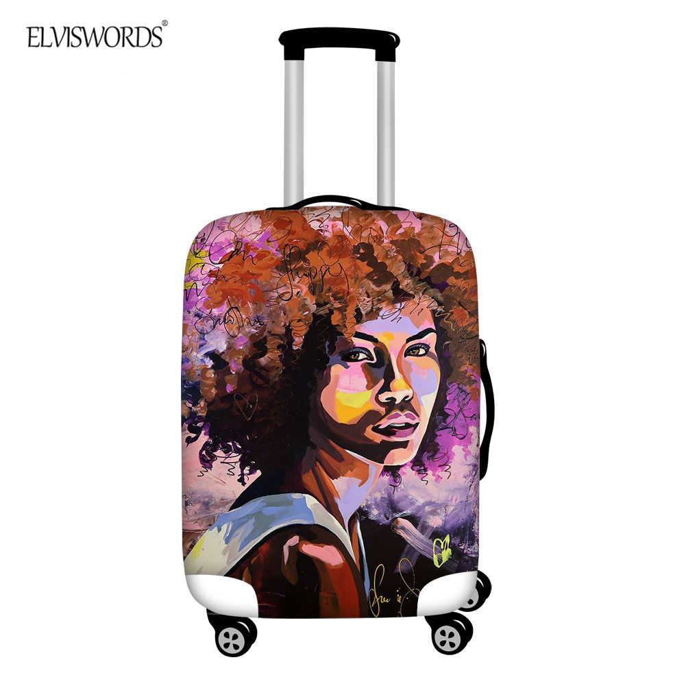 ELVISWORDS Black Women Printing Luggage Cover Thicken Elastic Dustproof Travel Accessories Suitcase Protector Covers