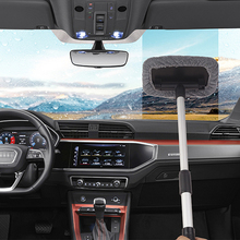 Retractable Car microfiber towel Auto detailing wash wheel brush cleaning tools mop for windshield window cleaning telescopic 18