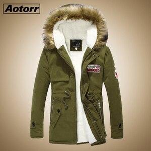 Image 1 - Parka erkekler palto kış ceket erkekler Slim kalınlaşmak kürk kapşonlu dış giyim erkek sıcak tutan kaban rahat katı marka giyim artı boyutu S 4XL