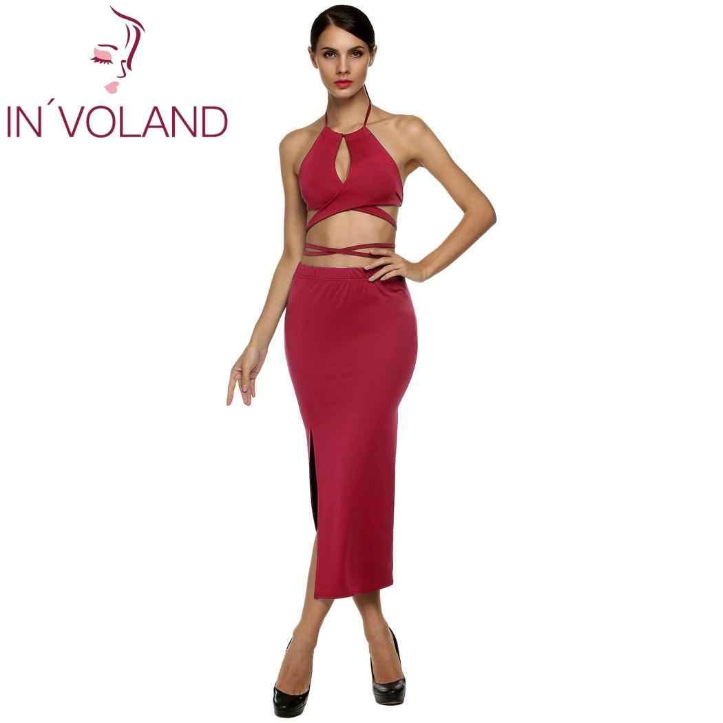 Women Lady Solid Club Beach Dress Set Halter Strap Backless Bandage Top Set Long Slit Bodycon Dress Party Vestidos 6 Colors