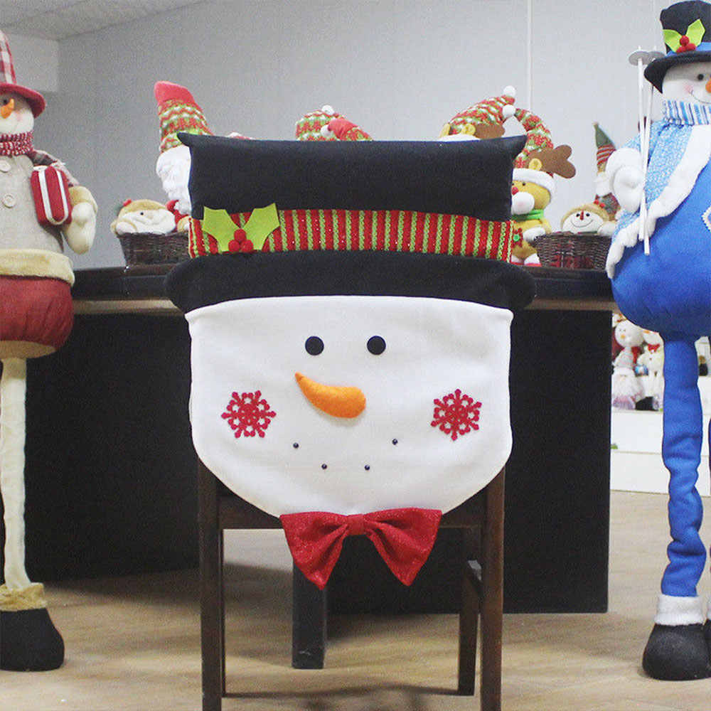 Rahat sandalye kılıfı keten peluş kardan adam noel dekorasyon parti süsleme ev dekor yumuşak festivali hediyeler Sants baba