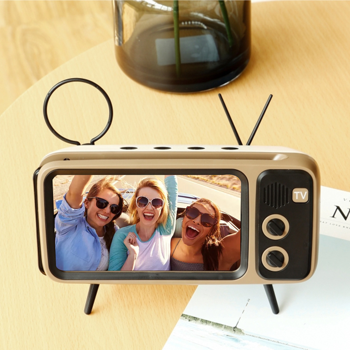 Stereo Bracket Movies Mobile Phone Bluetooth Speaker TV Music Player Retro Pocket Home Audio Electric Portable Mini Wireless