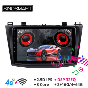 SINOSMART Support BOSE Soundsport Free Built-in DSP 8 Core CPU Car GPS Navigation Player for Mazda 3 2009-2012 2.5D IPS/QLED