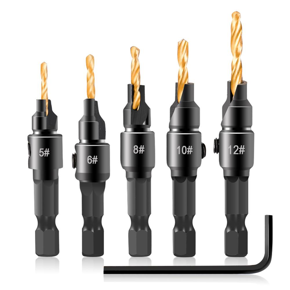 6Pcs Wood Woodworking High Carbon Steel Titanium Plated Chamfering Hex Shank Drill Bit Set Carpentry Tool