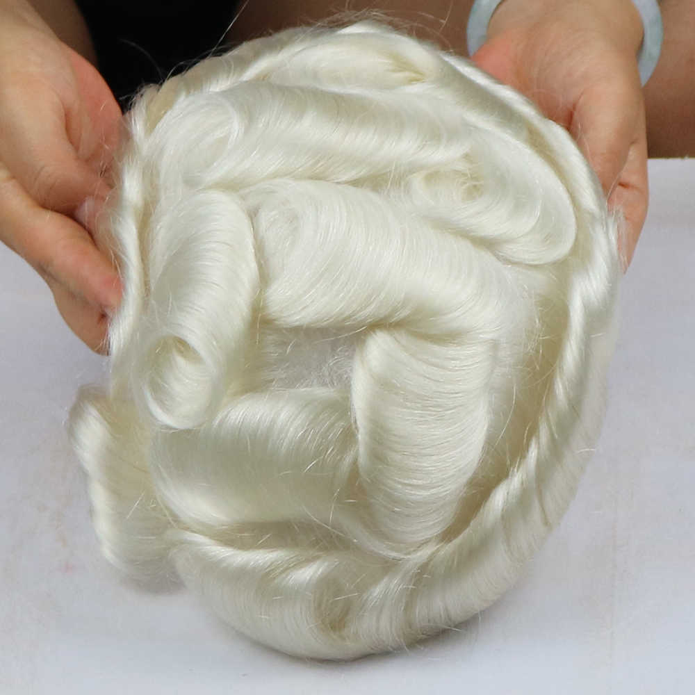V-geschleift männer Toupet Natürliche Haaransatz Weiß Farbe # 60R Männer Haar System Super Dünne Haut Toupet Haar ersatz System