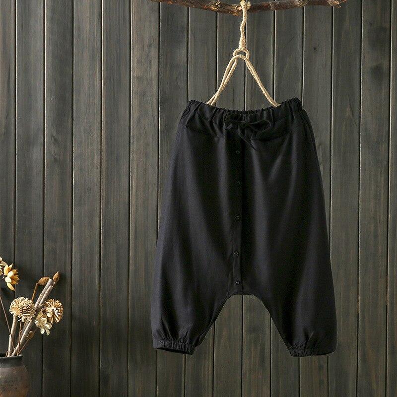 Pantalones holgados para mujeres de verano 2019 de lino de algodón de Color sólido de la entrepierna