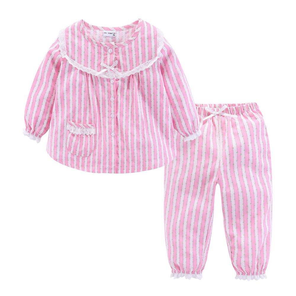 Mudkingdom Boutique Girls Pajama Sets Spring Autumn Cute Lace Striped Heart Toddler Pajamas Kids Sleepwear Sleeping Clothes 2