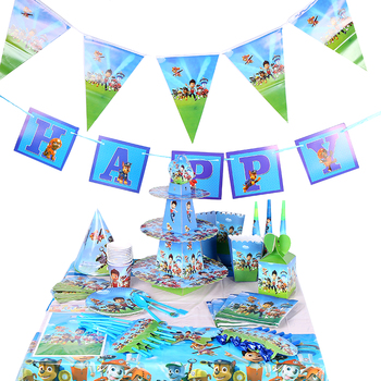 Paw patrol birthday decoration kids party background wall fork tablecloth cake box layout