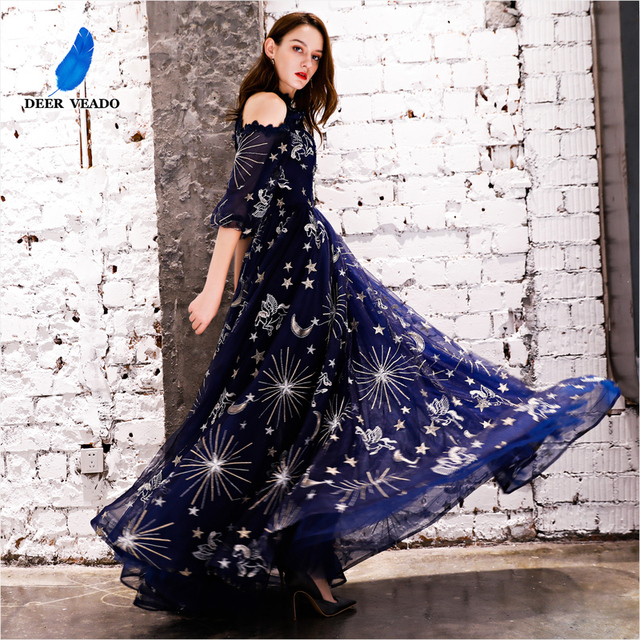 DEERVEADO Vintage Pattern A Line Tulle Evening Dresses Long Formal Dress Evening Gown Robe de Soiree YS439