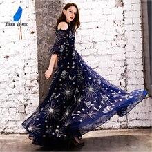 DEERVEADO Vintage desen bir çizgi tül abiye uzun resmi elbise gece elbisesi Robe de Soiree YS439