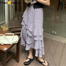 Floral Split Chiffon Skirt Women 2021 Summer Irregular Ruffled Midi Skirt