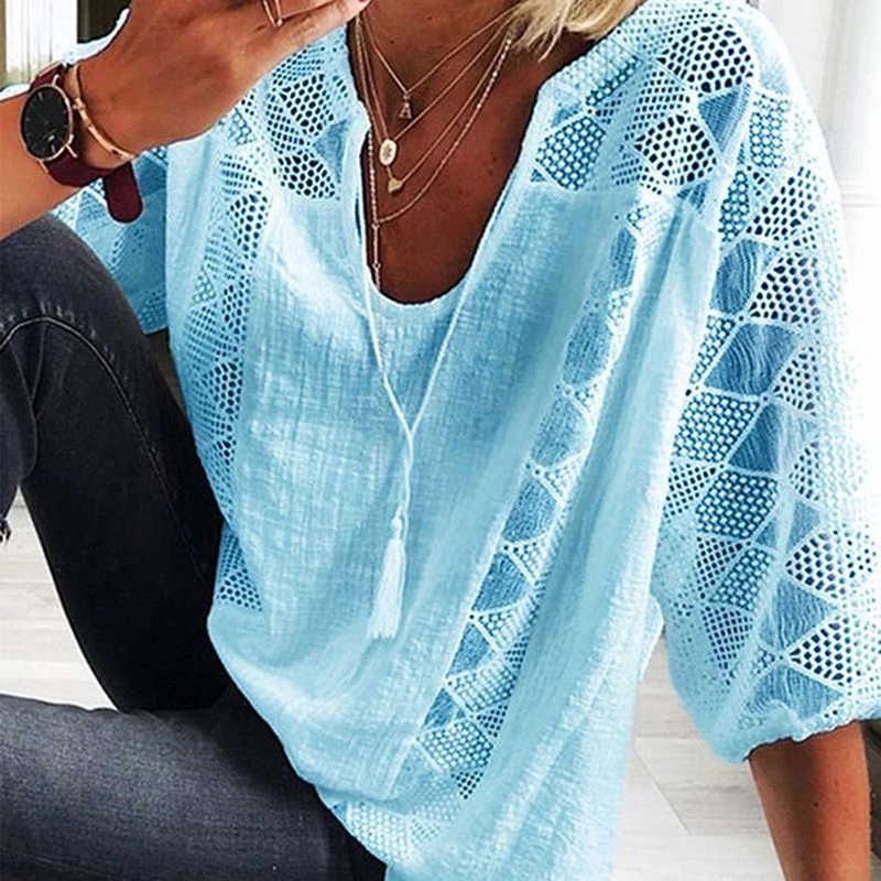 2020 Sexy Tops Vrouwen Drie Kwart Mouw Losse T-shirt Herfst Vrouwen Casual O-hals Top Hollow-Out T-shirts Футболка Женская