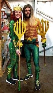 Image 4 - Aquaman Mera Mermaid Costume Amber Heard Sea Queen Mera Bodysuit Superhero Halloween Cosplay Jumpsuit for Swimming