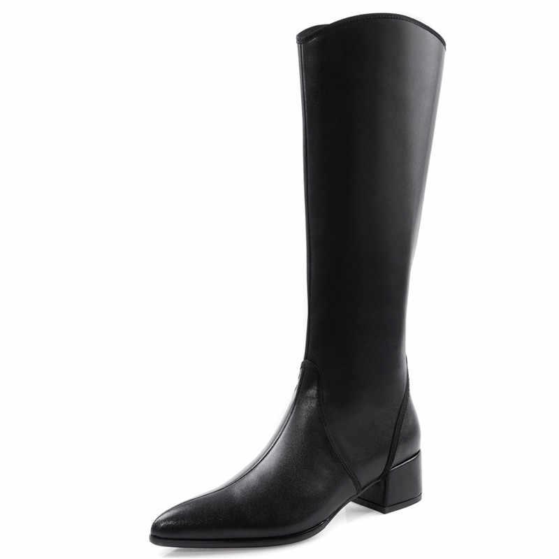 FEDONAS الشتاء ضئيلة طويلة الإناث أحذية ركوب الخيل جودة جلد طبيعي النساء حذاء برقبة للركبة أحدث مثير حزب أحذية رقص المرأة
