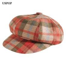 USPOP 2019 New plaid octagonal hats women Autumn wool  fashion female berets vintage visor cap