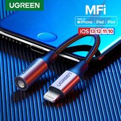 Ugreen mfi relâmpago para 3.5mm fones de ouvido adaptador para iphone 11 pro 8 7 aux 3.5mm jack cabo para relâmpago adaptador acessórios