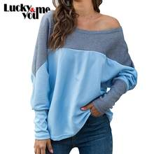 2020 New Arrive Womens Spring Autumn Long Sleeve Off Shoulder Tops Casual Female Loose Pullover Girls Sweater Yellow White Blue(China)