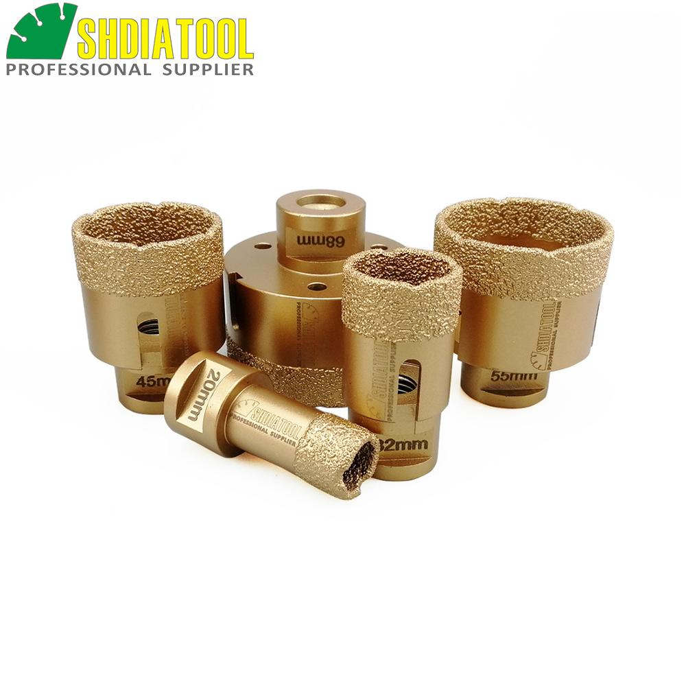 5pcs/pk 20/32/45/55/68mm Diamond hole saw Vacuum brazed diamond drill core bits 15MM height M14 connection Drill cutter