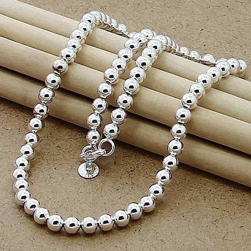 Yüksek kalite 925 gümüş takı kolye 6mm 8mm yuvarlak boncuk kolye kadınlar için lüks takı hediye