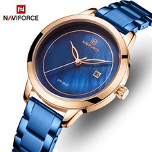 NAVIFORCE Reloj de pulsera de acero inoxidable para mujer, resistente al agua, sencillo, azul